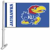 Kansas Jayhawks Car Flag W/Wall Brackett