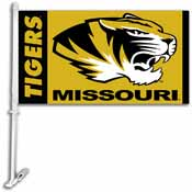 Missouri Tigers Car Flag W/Wall Brackett