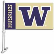 Washington Huskies Car Flag W/Wall Brackett