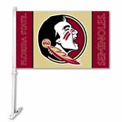 Florida State Seminoles Car Flag W/Wall Brackett