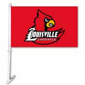Louisville Cardinals Car Flag W/Wall Brackett
