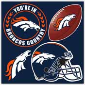 Denver Broncos 4 Piece Magnet Set