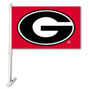 Georgia Bulldogs Car Flag W/Wall Brackett