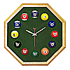 Octagon Oak Billiard Clock With Dark Green Mali Felt