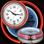 14 Inch Double Ring Neon Clock Red Orange Outer White Inner