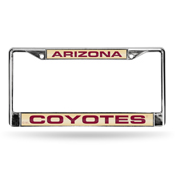 Coyotes Laser Chrome Frame - Gold Background With Maroon Letters