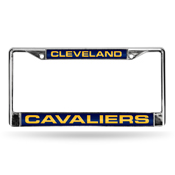 Cavaliers Laser Chrome Frame - Navy Background With Yellow Letters