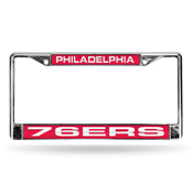 76ers Laser Chrome Frame - Red Background With White Letters