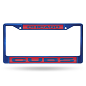 Cubs Blue Laser Colored Chrome Frame