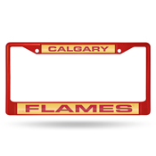 Flames Red Laser Colored Chrome Frame