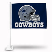Cowboys Car Flag Blue Bkg Helmet
