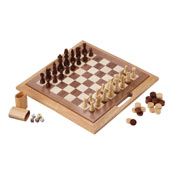Mainstreet Classics 3-In-1 Wood Game / Chess - Checkers - Backgammon
