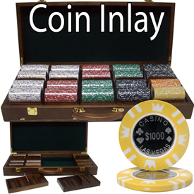 500 Ct Walnut Set Pre-Packaged - Coin Inlay 15 Gram Chips