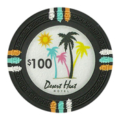 Desert Heat Series 13.5 Gram Clay Composite Casino Poker Chips - $100 Sold By the Roll of 25pcs.