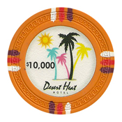 Desert Heat Series 13.5 Gram Clay Composite Casino Poker Chips - $10000 Sold By the Roll of 25pcs.