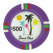 Desert Heat Series 13.5 Gram Clay Composite Casino Poker Chips - $500 Sold By the Roll of 25pcs.