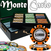 Pre-Pack - 500 Ct Monte Carlo Chip Set Hi Gloss Wooden Case