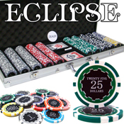500 Ct Pre-Packaged Eclipse 14G Poker Chip Set - Aluminum