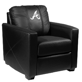 MLB Silver Chair with Secondary Logo Panel - Atlanta Braves