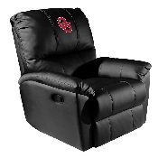 Collegiate Rocker Recliner with Red Logo with White Outline - Oklahoma University Sooners