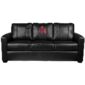 Collegiate Silver Sofa with Red Logo with White Outline - Oklahoma University Sooners