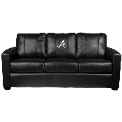 MLB Silver Sofa with Secondary Logo Panel - Atlanta Braves