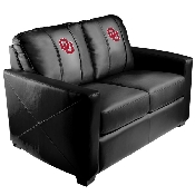 Collegiate Silver Love Seat with Red Logo with White Outline - Oklahoma University Sooners