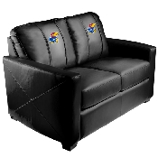 Silver Loveseat with Kansas Jayhawks Logo Panel