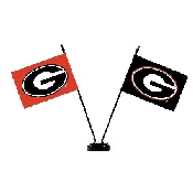 Collegiate Georgia Bulldogs 2 Flag Desk Set