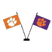 Collegiate Clemson Tigers 2 Flag Desk Set