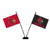 Collegiate Louisville Cardinals 2 Flag Desk Set