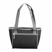 Plain Black Crosshatch 16 Can Cooler Tote