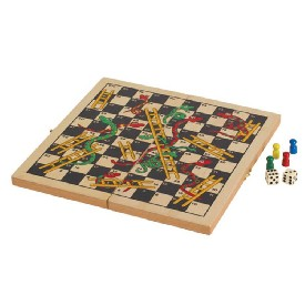 "11"" Folding Wooden Snakes & Ladders Game"