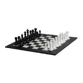 "4.3"" Weighted Blk/Wht Chess Set W/ Blk/Wht Leatherette Board"