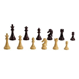 "4.3"" Weighted Tan/Burg Chessmen"