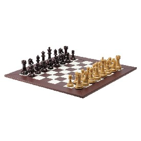 "4.3"" Weighted Tan/Burg Chess Set W/ Bwn/Wht Board"