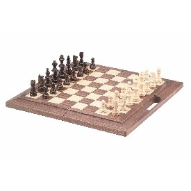 "16"" Walnut Color Folding Chess Set W/ Handle"
