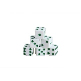 200Pc 16Mm White Dice W/ Green Dots - New