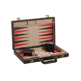 "15"" Black Leatherette Backgammon"