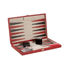 "18"" Black/Red Leatherette Backgammon"