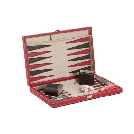 "15"" Black/Red Leatherette Backgammon"