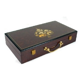 300Pc Hi-Gloss Wooden Poker Case - Spade Design