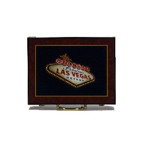 "500Pc Hi-Gloss ""Welcome To Las Vegas"" Wooden Poker Case"