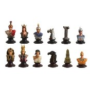 Egyptian - White Metal Chessmen (King: 2 1/8