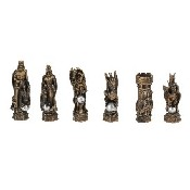 King Arthur Gld/Slv Chessmen - Poly Resin (King: 3