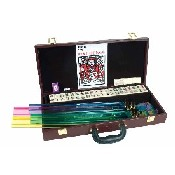 Burgundy Case Western Mah Jong W/ Racks & Pushers