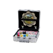Dbl 12 Pro Mexican Train Dom/Chicken Dom Set W/ Whistling Hub In Alum Case