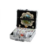 Dbl 12 Numrl 2 In 1 Mexican Train Set In Alum Case