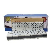 Dbl 6 Jumbo 2-Tone Dominoes W/ Spinners In Wooden Case