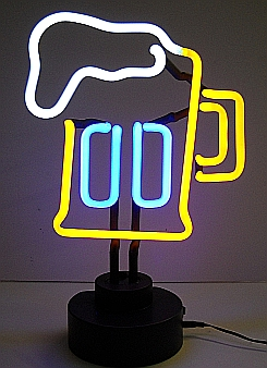"NEON BEER MUG HANGWALL SCULPTURE 8"" x 13"" x 6"""